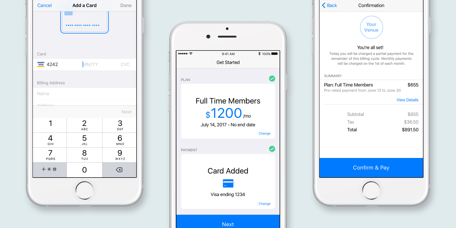 Plans, add a payment method