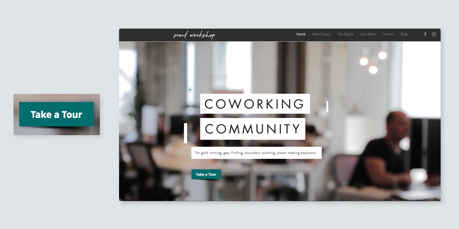 Coworking space Scout Workshop button example