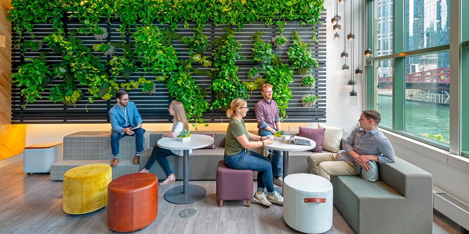 People working in a lively coworking space