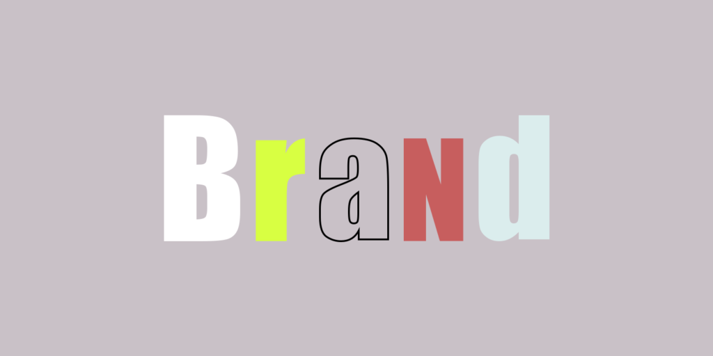 The word brand in different colours and shapes