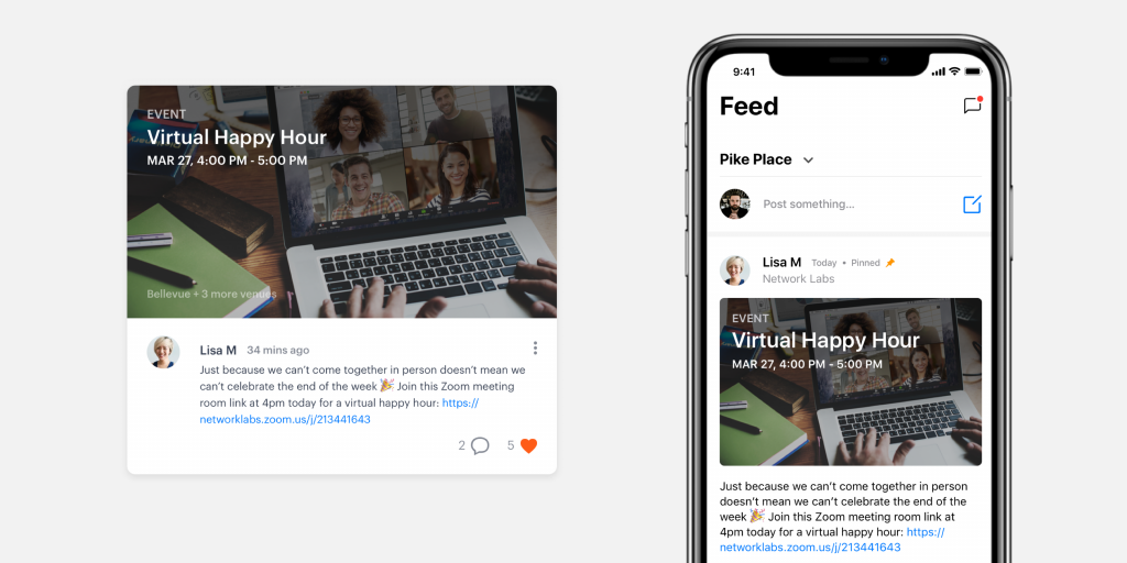 Host virtual events and post about them in the feed