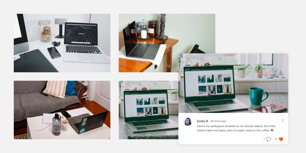 Workspace photos shared via the community feed