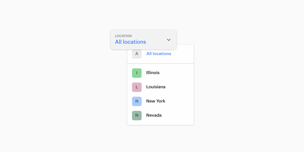 Primary location filter in web dashboard