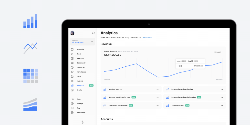 New analytics page on a macbook with analytics icons next to it