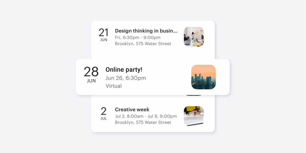 List of events, including a virtual event, from the mobile app