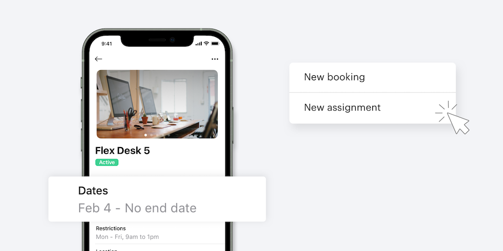 Smartphone shows assignment dates and screenshots expand sections of mobile app