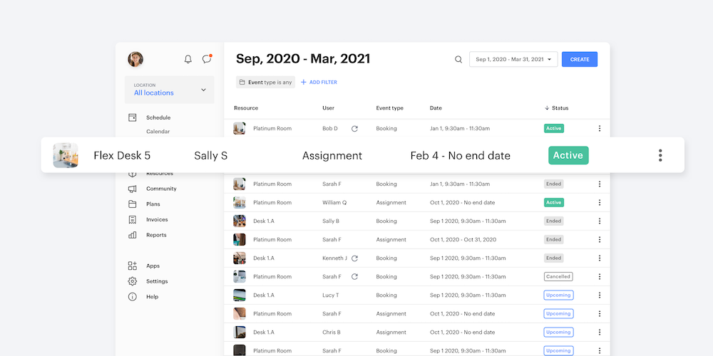 Screenshot of Optix dashboard shows list of assignments and users.