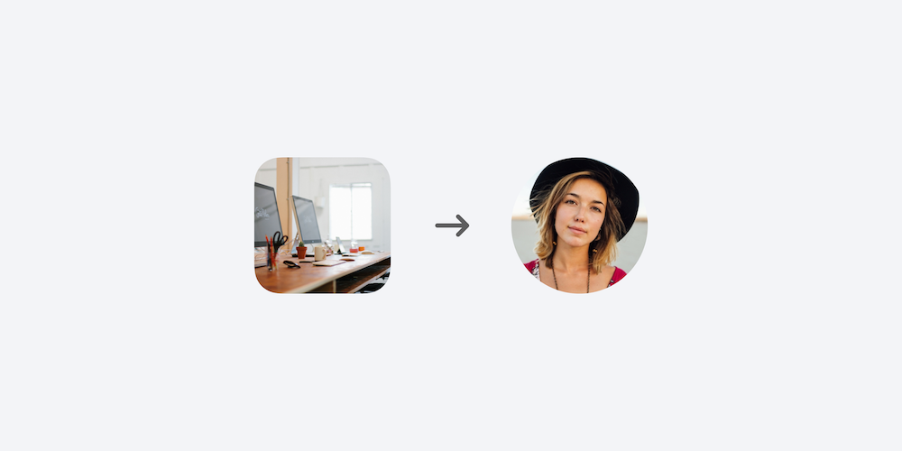 Two icons show computers on a brown shared desk, and an image of a woman's face.