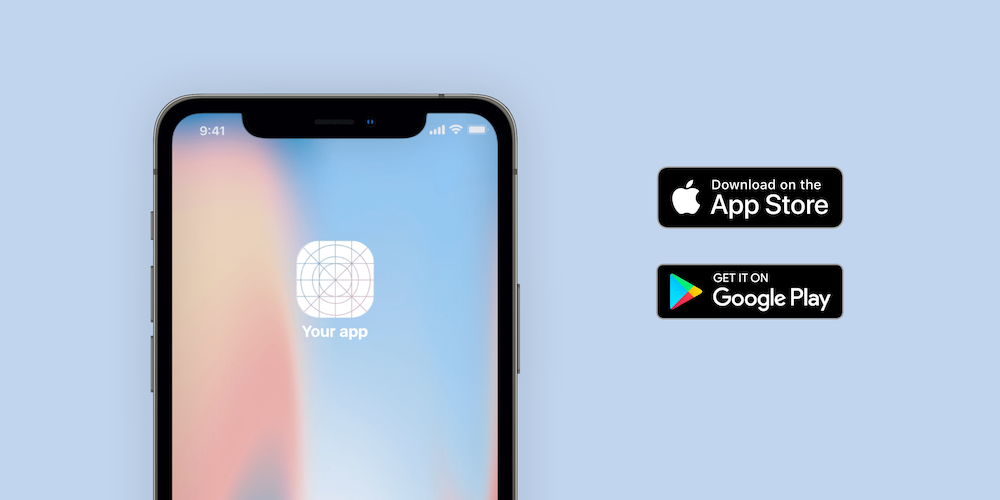 Smartphone and Apple App Store logos on blue background.
