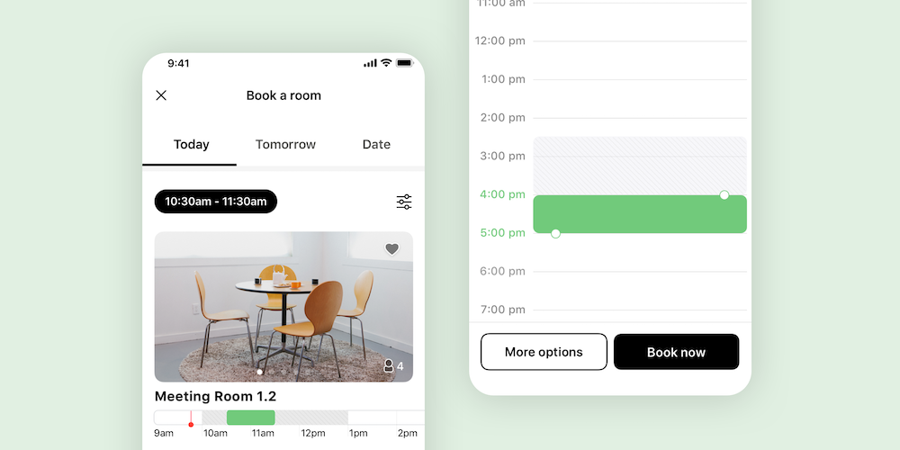 Mobile screenshots showing white label app booking of meeting room and time slot selection.