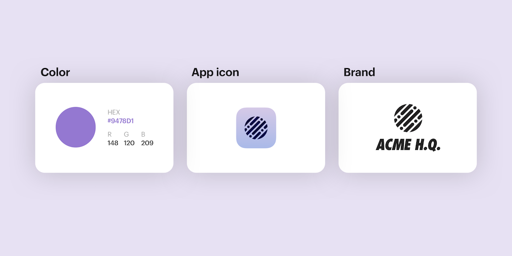 Color, app icon, brand icons show on light purple background.