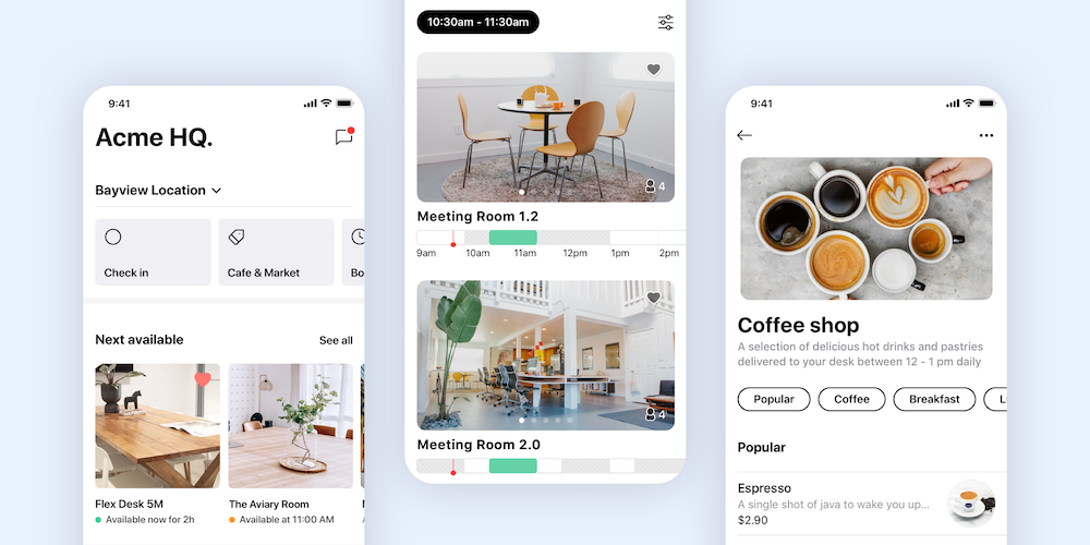 Mobile screenshots of meeting room bookings in a white label app.